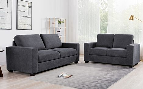 Mission Slate Grey Plush Fabric 3+2 Seater Sofa Set