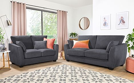 Claremont Slate Grey Plush Fabric 3+2 Seater Sofa Set
