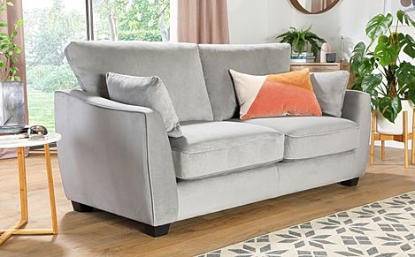 Claremont Grey Velvet 3 Seater Sofa