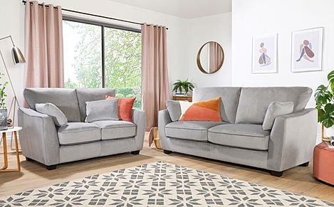 Claremont Grey Velvet 3+2 Seater Sofa Set