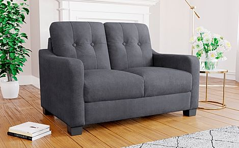 Belmont Slate Grey Plush Fabric Sofa 2 Seater