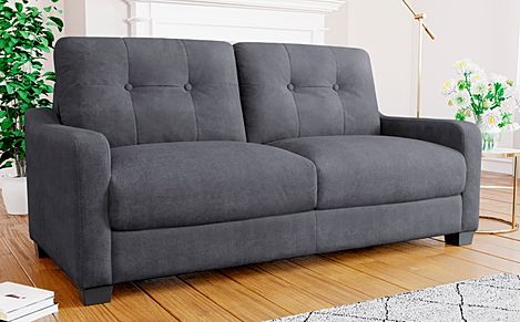 Belmont Slate Grey Plush Fabric Sofa 3 Seater