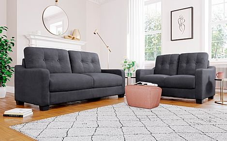 Belmont Slate Grey Plush Fabric Sofa 3+2 Seater Sofa Set