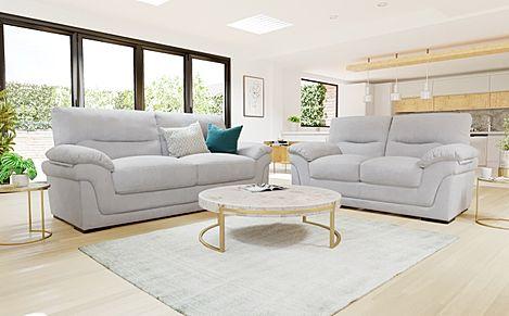 Ascot Dove Grey Plush Fabric 3+2 Seater Sofa Set