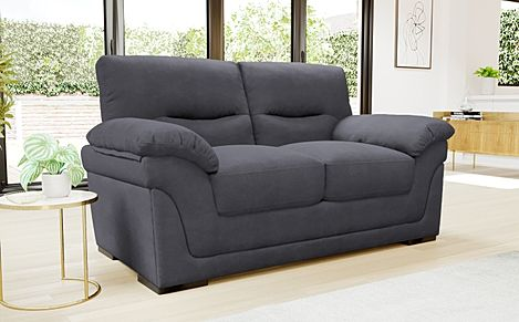 Ascot Slate Grey Plush Fabric 2 Seater Sofa
