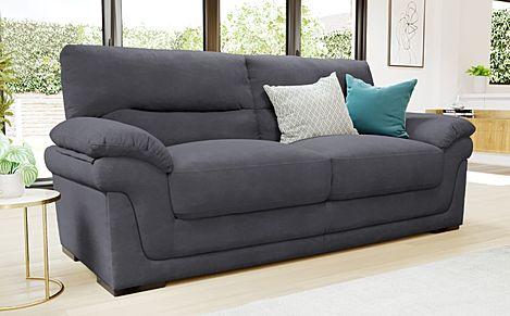 Ascot Slate Grey Plush Fabric 3 Seater Sofa