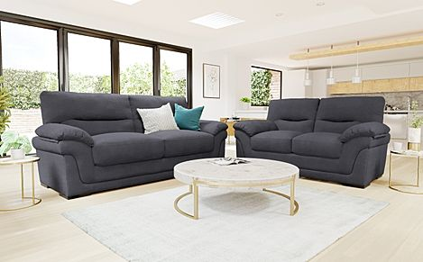 Ascot Slate Grey Plush Fabric 3+2 Seater Sofa Set