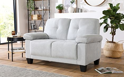 Linton Small Dove Grey Plush Fabric 2 Seater Sofa