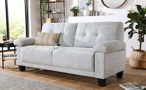 Linton Small Dove Grey Plush Fabric 3 Seater Sofa