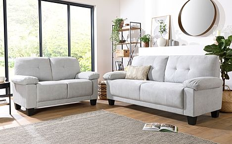 Linton Small Dove Grey Plush Fabric 3+2 Seater Sofa Set