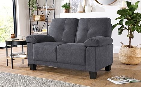 Linton Small Slate Grey Plush Fabric 2 Seater Sofa
