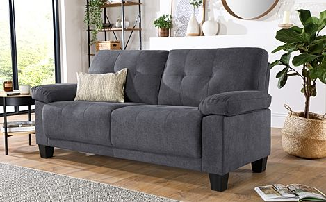 Linton Small Slate Grey Plush Fabric 3 Seater Sofa