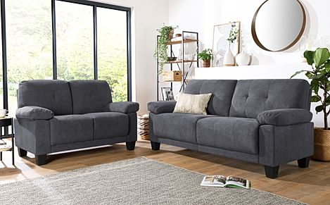 Linton Small Slate Grey Plush Fabric 3+2 Seater Sofa Set