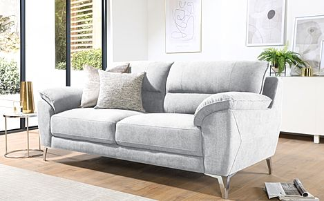 Madrid Dove Grey Plush Fabric 3 Seater Sofa