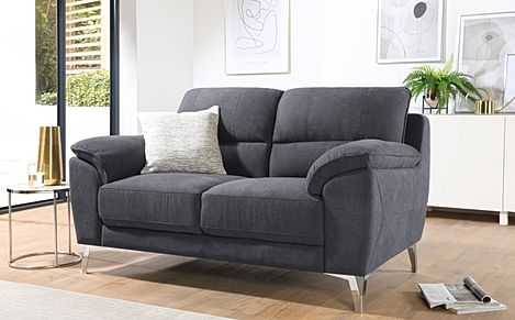 Madrid Slate Grey Plush Fabric 2 Seater Sofa