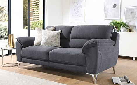 Madrid Slate Grey Plush Fabric 3 Seater Sofa