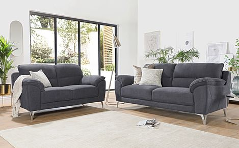 Madrid Slate Grey Plush Fabric 3+2 Seater Sofa Set