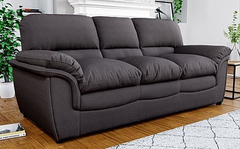 Rochester Charcoal Grey Fabric 3 Seater Sofa