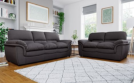Rochester Charcoal Grey Fabric 3+2 Seater Sofa Set