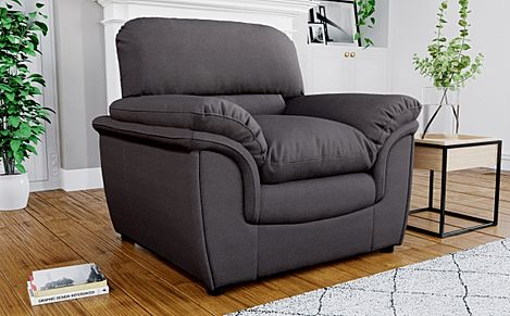 Rochester Charcoal Grey Fabric Armchair
