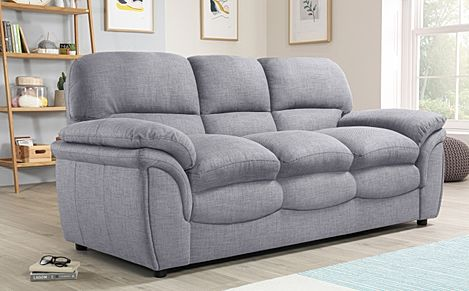 Rochester Grey Fabric 3 Seater Sofa