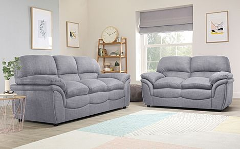 Rochester Grey Fabric 3+2 Seater Sofa Set