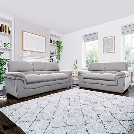 Rochester Grey Velvet 3+2 Seater Sofa Set