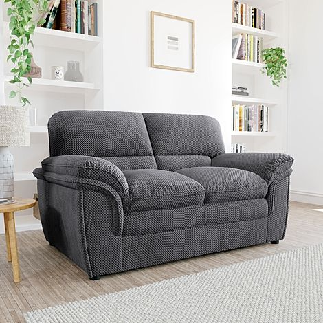 Rochester Dark Grey Dotted Cord Fabric 2 Seater Sofa