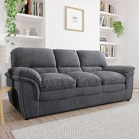 Rochester Dark Grey Dotted Cord Fabric 3 Seater Sofa