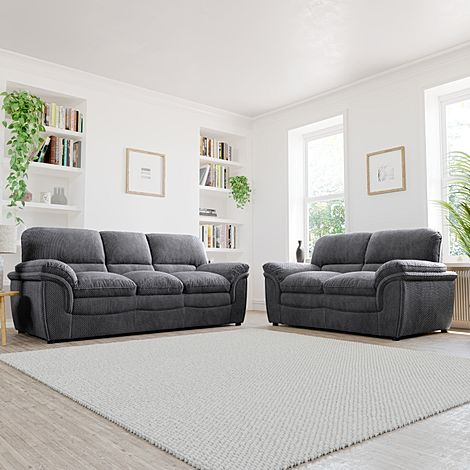 Rochester Dark Grey Dotted Cord Fabric 3+2 Seater Sofa Set
