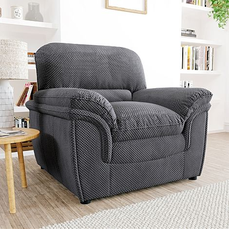 Rochester Dark Grey Dotted Cord Fabric Armchair