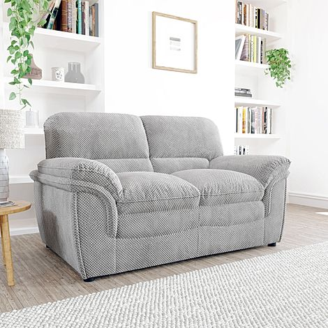 Rochester Light Grey Dotted Cord Fabric 2 Seater Sofa