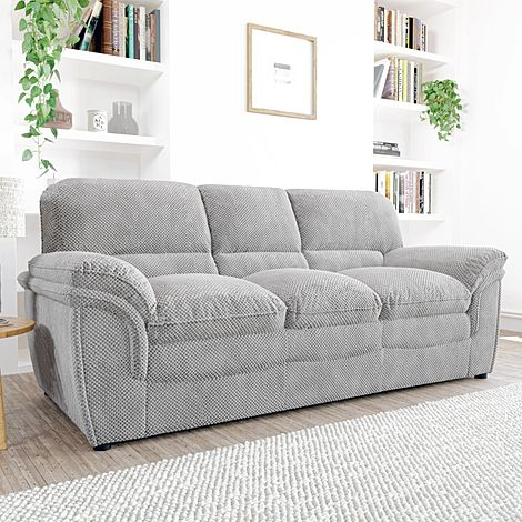 Rochester Light Grey Dotted Cord Fabric 3 Seater Sofa