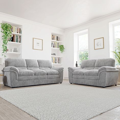 Rochester Light Grey Dotted Cord Fabric 3+2 Seater Sofa Set
