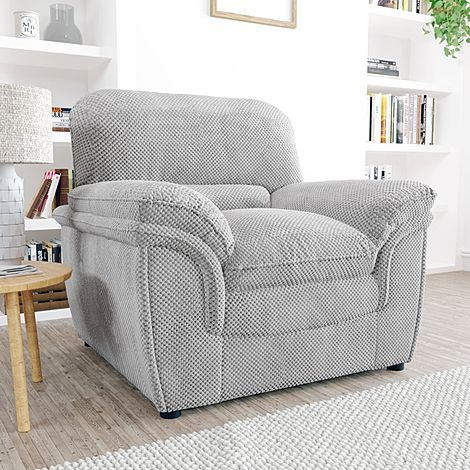 Rochester Light Grey Dotted Cord Fabric Armchair
