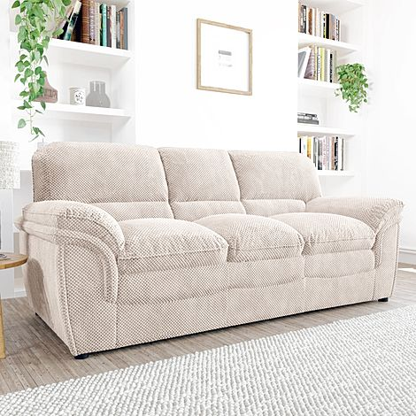 Rochester Natural Dotted Cord Fabric 3 Seater Sofa