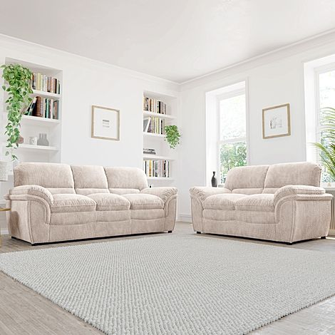 Rochester Natural Dotted Cord Fabric 3+2 Seater Sofa Set