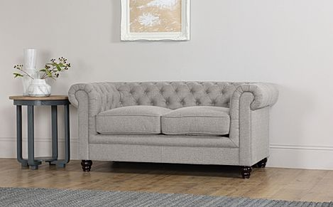 Hampton Light Grey Fabric 2 Seater Chesterfield Sofa