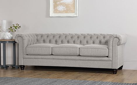 Hampton Light Grey Fabric 3 Seater Chesterfield Sofa