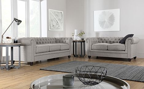 Hampton Light Grey Fabric 3+2 Seater Chesterfield Sofa Set