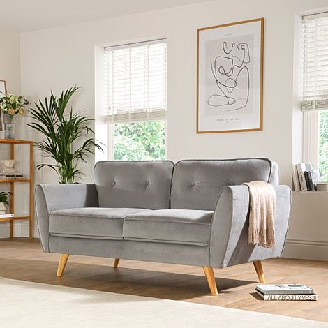 Harlow Grey Velvet 2 Seater Sofa