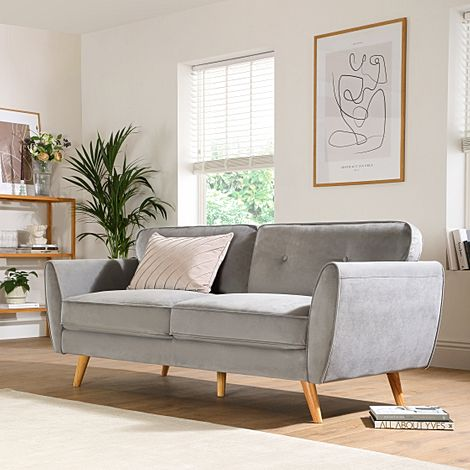 Harlow Grey Velvet 3 Seater Sofa