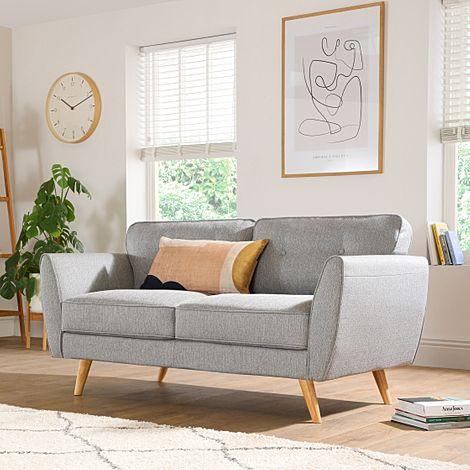 Harlow Light Grey Fabric 2 Seater Sofa