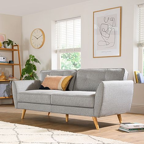 Harlow Light Grey Fabric 3 Seater Sofa