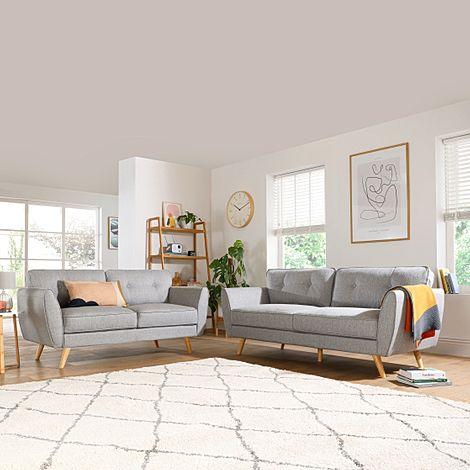 Harlow Light Grey Fabric 3+2 Seater Sofa Set