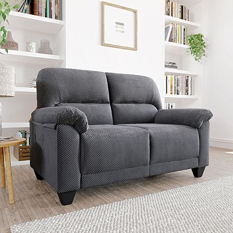 Kenton Small Dark Grey Dotted Cord Fabric 2 Seater Sofa