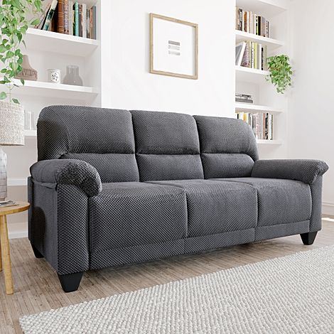 Kenton Small Dark Grey Dotted Cord Fabric 3 Seater Sofa