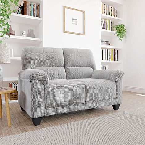 Kenton Small Light Grey Dotted Cord Fabric 2 Seater Sofa