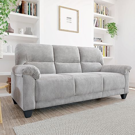Kenton Small Light Grey Dotted Cord Fabric 3 Seater Sofa
