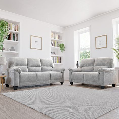 Kenton Small Light Grey Dotted Cord Fabric 3+2 Seater Sofa Set